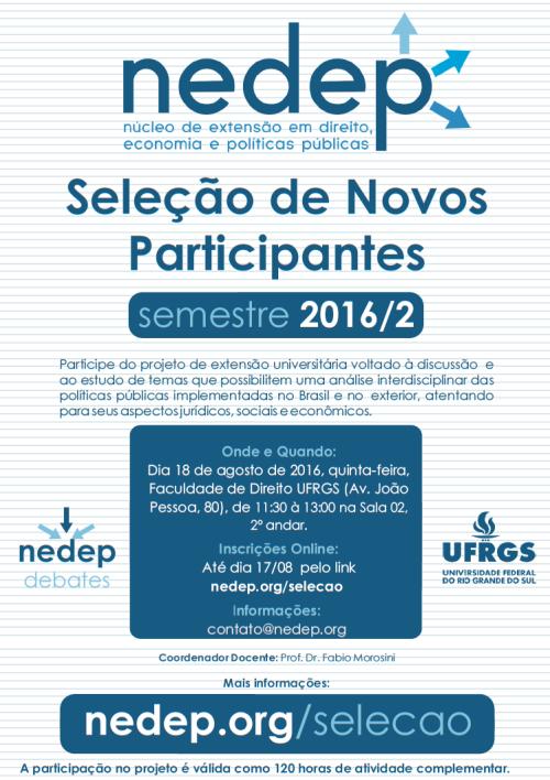Cartaz Seleção NEDEP 2016.2 b